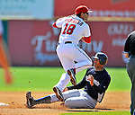 12 March 2011: Washington Nationals' infielder Danny Espinosa turns a double-play, getting Justin Maxwell out at second, during a Spring Training game against the New York Yankees at Space Coast Stadium in Viera, Florida. The Nationals edged out the Yankees 6-5 in Grapefruit League action. Mandatory Credit: Ed Wolfstein Photo