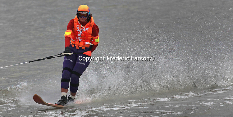 A water skier practices her talents in the Delta region near Antioch, California.