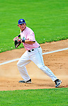"18 July 2010: Vermont Lake Monsters third baseman Jack Walker in action against the Staten Island Yankees at Centennial Field in Burlington, Vermont. The Lake Monsters, dressed in their Breast Cancer Awareness ""Pinks"", fell to the Yankees 9-5 in NY Penn League action. Mandatory Credit: Ed Wolfstein Photo"