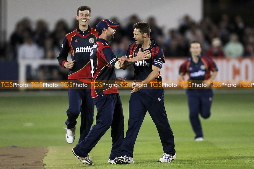 Geraint Jones of Kent is bowled out by Greg Smith who celebrates (2nd R) with his team mates - Essex Eagles vs Kent Spitfires - Friends Life T20 Cricket at the Ford County Ground, Chelmsford, Essex - 20/06/12 - MANDATORY CREDIT: Gavin Ellis/TGSPHOTO - Self billing applies where appropriate - 0845 094 6026 - contact@tgsphoto.co.uk - NO UNPAID USE.