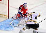 22 November 2008: Montreal Canadiens' goaltender Carey Price gives one up to Boston Bruins' left wing forward Milan Lucic in the second period at the Bell Centre in Montreal, Quebec, Canada.  After a 2-2 regulation tie and a non-scoring 5-minute overtime period, the Boston Bruins scored the lone shootout goal thus defeating the Canadiens 3-2. The Canadiens, celebrating their 100th season, honored former Montreal goaltender Patrick Roy, and retired his jersey (Number 33) during pre-game ceremonies. ***** Editorial Use Only *****..Mandatory Photo Credit: Ed Wolfstein Photo *** Editorial Sales through Icon Sports Media *** www.iconsportsmedia.com