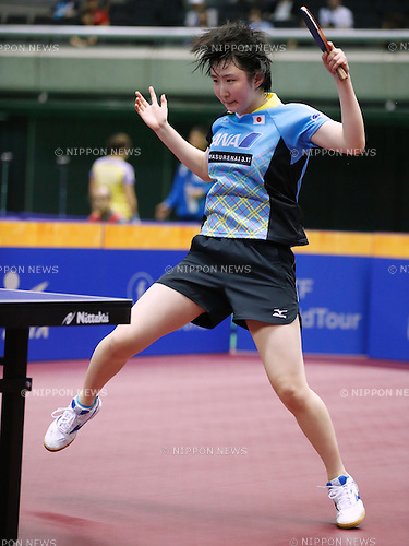 Hina Hayata (JPN), JUNE 17, 2016 - Table Tennis : ITTF World Tour, Japan Open 2016 <br /> Women's singles <br /> match at Tokyo Metropolitan Gymnasium, Tokyo, Japan. (Photo by Sho Tamura/AFLO SPORT)
