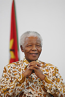 Former South African president Nelson Mandela at the presidential palace in Maputo during talks on education in Africa.
