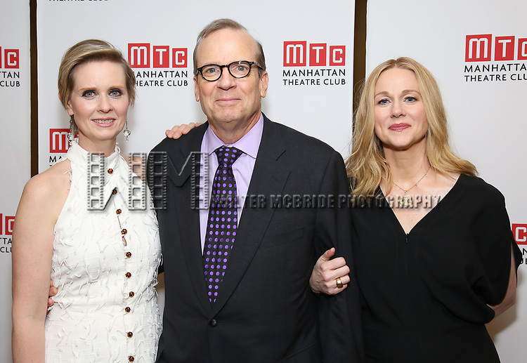 Cynthia Nixon, Barry Grove and Laura Linney attending the Broadway Opening Night After Party for 'The Little Foxes' at the Copacabana on April 19, 2017 in New York City.
