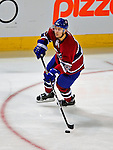 4 December 2008: Montreal Canadiens' defenseman Josh Gorges in action against the New York Rangers at the Bell Centre in Montreal, Quebec, Canada. The Canadiens, celebrating their 100th season, played in the circa 1915-1916 uniforms for the evenings' Original Six matchup. The Canadiens defeated the Rangers 6-2. *****Editorial Use Only*****..Mandatory Photo Credit: Ed Wolfstein Photo