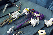 Various laparoscopic tools, prepared for use. Royalty Free