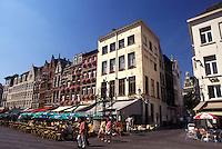 Belgium, Antwerp, Antwerpen, Europe, Outdoor cafés in town square in downtown Antwerpen.