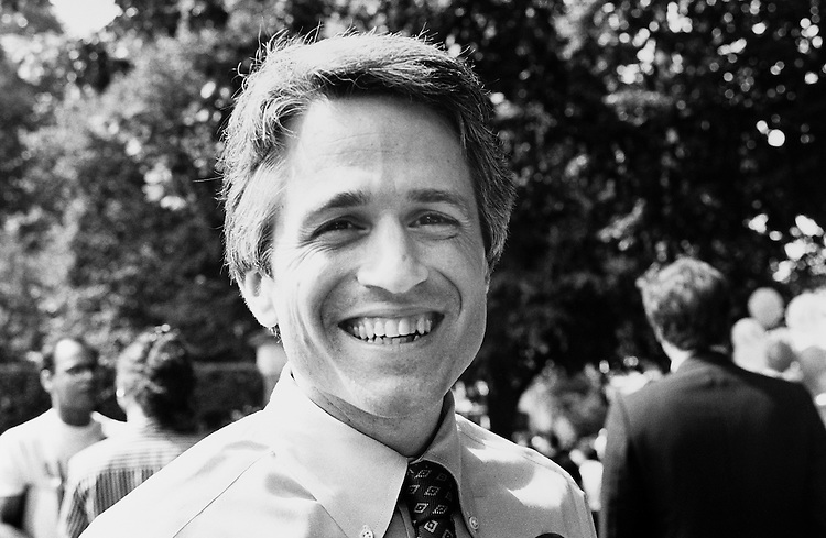 Scott Wolf spotted before parade began. He was unable to march in parade because he's not an elected official. Representative Ronald Machtley challenger. Rhode Island 4th of July 1990. (Photo by Laura Patterson/CQ Roll Call)