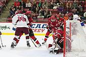 Ryan Donato (Harvard - 16), Matt Purmal (SLU - 15), Michael Ederer (SLU - 16), Ben Masella (SLU - 3), Kyle Hayton (SLU - 27), Lewis Zerter-Gossage (Harvard - 77) - The Harvard University Crimson defeated the St. Lawrence University Saints 6-3 (EN) to clinch the ECAC playoffs first seed and a share in the regular season championship on senior night, Saturday, February 25, 2017, at Bright-Landry Hockey Center in Boston, Massachusetts.