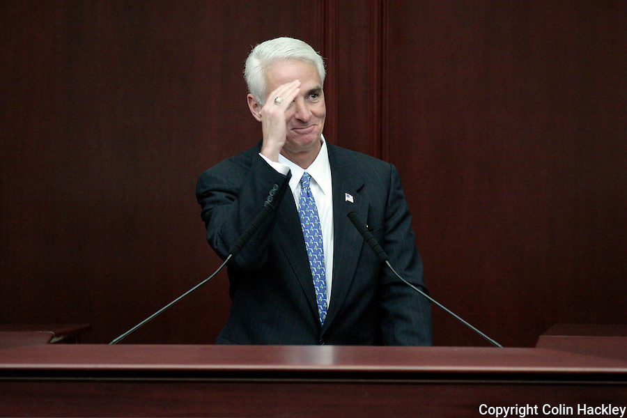TALLAHASSEE, FL. 3/3/09-Gov. Charlie Crist salutes prior to giving his State of the State address during opening day of the legislature ceremonies March 3, 2009 at the Capitol in Tallahassee...COLIN HACKLEY PHOTO