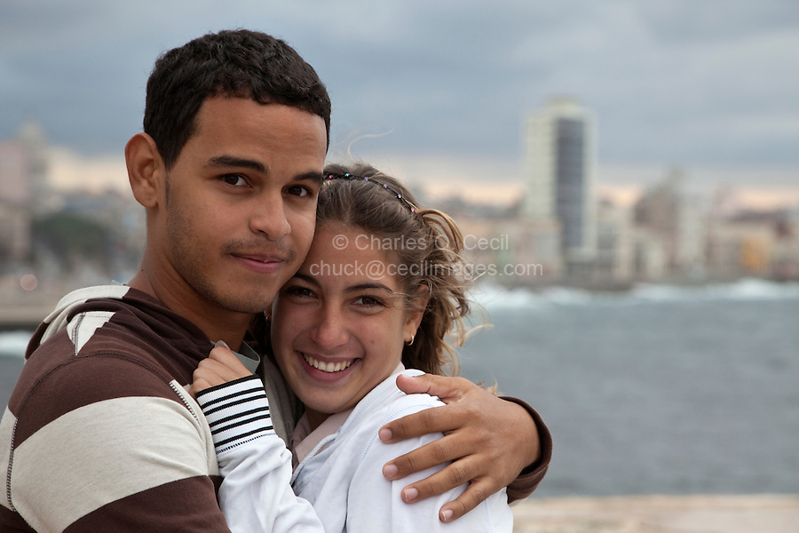 Cuba, Havana.  Young Couple at El Morro Fort.  Margarita and Ruber.  Cuba's Young Generation.