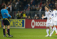13 April 2011: Los Angeles Galaxy midfielder David Beckham #23 has some words with referee Terry Vaughn during an MLS game between Los Angeles Galaxy and the Toronto FC at BMO Field in Toronto, Ontario Canada..The game ended in a 0-0 draw.