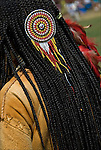 Native American pow wow regalia bead work. Examples of ethnic pride, heritage, celebration, and traditional folk art crafts