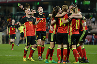 20170411 - LEUVEN ,  BELGIUM : Belgian players pictured celebrating their 2-0 lead during the friendly female soccer game between the Belgian Red Flames and Scotland , a friendly game in the preparation for the European Championship in The Netherlands 2017  , Tuesday 11 th April 2017 at Stadion Den Dreef  in Leuven , Belgium. PHOTO SPORTPIX.BE   DAVID CATRY