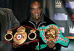 WBA/WBC/Ring Magazine Cruiserweight Champ Jean-Marc Mormeck displays some of his hardware at the presser announcing his upcoming fight.