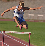 WINSTED, CT-041817JS07- Litchfield's Antonio Muratori took first in the 300M hurdles during their meet with Lewis Mills and Gilbert Tuesday at Northwest Regional High School in Winsted. <br /> Jim Shannon Republican-American