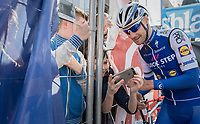 The Kid taking a (backstage) selfie pic with The Champ that is Tom Boonen (BEL/Quick-Step Floors)<br /> <br /> 79th Gent-Wevelgem 2017 (1.UWT)<br /> 1day race: Deinze &rsaquo; Wevelgem - BEL (249km)