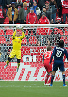 21 April 2012: Toronto FC goalkeeper Milos Kocic #30 in action during a game between the Chicago Fire and Toronto FC at BMO Field in Toronto..The Chicago Fire won 3-2....