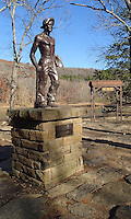 NWA Democrat-Gazette/FLIP PUTTHOFF <br /> Devil's Den State Park was built by Civilian Conservation Corps workers. A statue in the park is a tribute to the workers.
