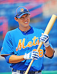 10 March 2012: New York Mets outfielder Matt den Dekker awaits his turn in the batting cage prior to a Spring Training game against the Washington Nationals at Space Coast Stadium in Viera, Florida. The Nationals defeated the Mets 8-2 in Grapefruit League play. Mandatory Credit: Ed Wolfstein Photo