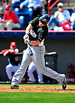 8 March 2010: Florida Marlins' infielder Logan Morrison in action during a Spring Training game against the Washington Nationals at Space Coast Stadium in Viera, Florida. The Marlins defeated the Nationals 12-2 in Grapefruit League action. Mandatory Credit: Ed Wolfstein Photo