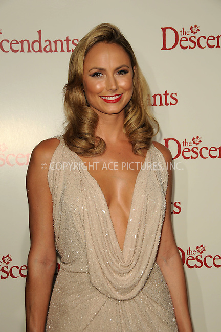 WWW.ACEPIXS.COM . . . . .  ....November 15 2011, LA....Stacy Keibler arriving at the premiere of 'The Descendants' at AMPAS Samuel Goldwyn Theater on November 15, 2011 in Beverly Hills, California.....Please byline: PETER WEST - ACE PICTURES.... *** ***..Ace Pictures, Inc:  ..Philip Vaughan (212) 243-8787 or (646) 679 0430..e-mail: info@acepixs.com..web: http://www.acepixs.com