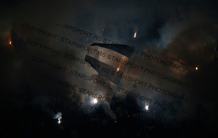 Fudbal Super League season 2016-2017<br /> Partizan v Napredak (Krusevac)<br /> Grobari navijaci zastave fans supporters flairs baklje<br /> Beograd, 25.11.2016.<br /> foto: Srdjan Stevanovic/Starsportphoto&copy;