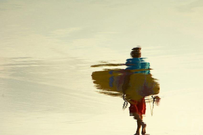 Reflection of a Surfer Kuta Legian Beach, Bali Indonesia