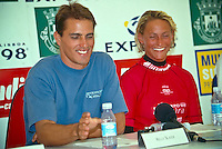 Kelly Slater (USA)  World Professional Surfing Champion in 1997. This is his 5th World Title. Lisa Andersen (USA) was the World Women's Champion..Photo: joliphotos.com