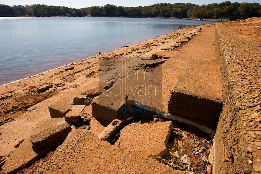 The now-exposed grandstands of a submerged race track on Lake Lanier. The lake provides water for parts of Georgia, Alabama and Florida.