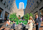 Rockefeller Plaza facing Saks Fifth Avenue New York store, with elegant couple tourist, woman and baby stroller and other visitors, Rockefeller Center, Manhattan, New York City, NY, USA, June 27 2011. NOTE: taken with fisheye lens (EDITORIAL USE ONLY)