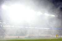 Smoke hangs over the field after the New York Red Bulls scored during the first half of a Major League Soccer match between the New York Red Bulls and the Chicago Fire at Red Bull Arena in Harrison, NJ, on March 27, 2010. The Red Bulls defeated the Fire 1-0.