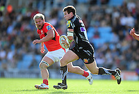 Ian Whitten of Exeter Chiefs goes on the attack. Aviva Premiership match, between Exeter Chiefs and Saracens on September 11, 2016 at Sandy Park in Exeter, England. Photo by: Patrick Khachfe / JMP