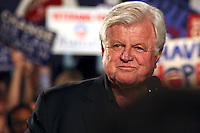 A smiling Ted Kennedy at a 2008 Obama Campaign rally.