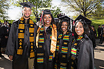 A group of students pose for a portrait before the start of commencement on Saturday, May 2, 2015.  Photo by Ohio University  /  Rob Hardin