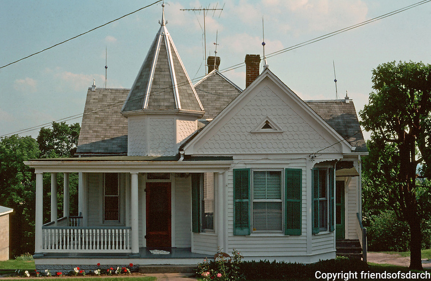 Augusta:   A Queen Anne with several roof lines and large front porch.  Photo '77.