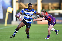 Levi Davis of Bath United takes on the UK Armed Forces defence. Remembrance Rugby match, between Bath United and the UK Armed Forces on May 10, 2017 at the Recreation Ground in Bath, England. Photo by: Patrick Khachfe / Onside Images