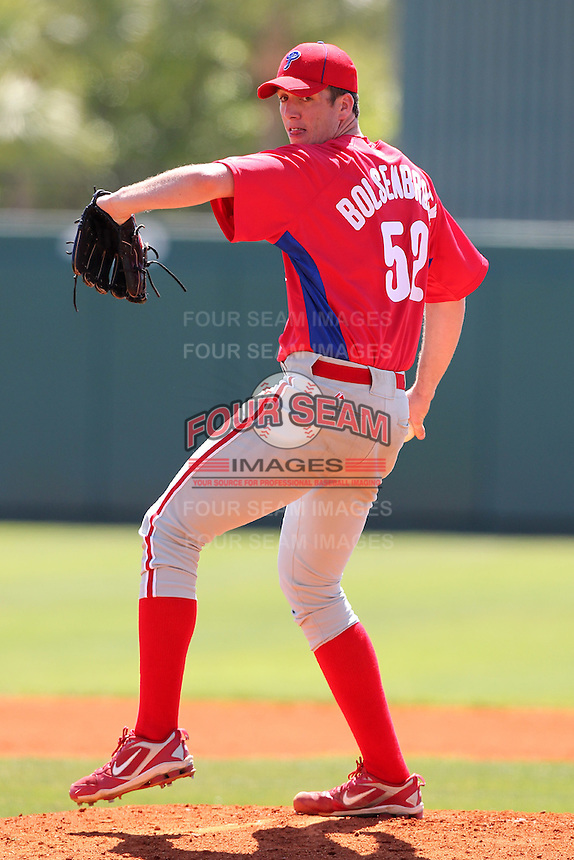 Philadelphia Phillies Mike Bolsenbroek #52 during an exhibition game vs the Netherlands National Team  at Al Lang Field in St. Petersburg, Florida;  March 13, 2011.  Photo By Mike Janes/Four Seam Images