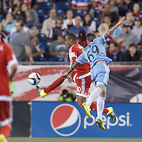 Foxborough, Massachusetts - July 18, 2015: In a Major League Soccer (MLS) match, the New England Revolution (red) defeated New York City FC (blue), 1-0, at Gillette Stadium.
