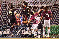 Mexico forward Aldo De Nigris (9) squarely heads home a winner. The national teams of Mexico and Venezuela played to a 1-1 draw in an International friendly match at  Qualcomm stadium in San Diego, California on  March 29, 2011...