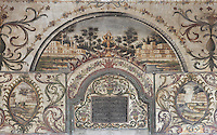 Decorative frescoes and a koranic inscription in the Et'hem Bey Mosque or Xhamia e Et'hem Beut, begun 1789 by Molla Bey and finished in 1823 by his son Haxhi Ethem Bey, great-grandson of Sulejman Pasha, Tirana, Albania. The frescoes decorating the mosque, unusual in Islamic art, depict trees, waterfalls, buildings and bridges. The mosque is listed as a Cultural Monument of Albania. Tirana was founded by the Ottomans in 1614 by Sulejman Bargjini and became the capital of Albania in 1920. Picture by Manuel Cohen