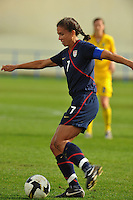 Shannon Boxx fires a shot.  The USA was victorious over Sweden 2-0 in Ferreiras on March 1, 2010 at the Algarve Cup.