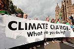 People's Climate March, London, UK (21 September 2014). As part of a global day of protest in advance of a UN climate summit in New York, thousands march through central London, from Temple Gardens to Parliament Square. An estimated 40,000 people joined the march in London, among them several celebrities including Emma Thompson, Vivienne Westwood and Peter Gabriel. © Rudolf Abraham