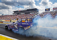 Mar 20, 2016; Gainesville, FL, USA; NHRA funny car driver Jack Beckman during the Gatornationals at Auto Plus Raceway at Gainesville. Mandatory Credit: Mark J. Rebilas-USA TODAY Sports