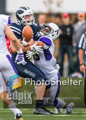8 October 2016: Amherst College Purple & White Defensive Back Stefan Soucy, a Senior from Exeter, NH, breaks up a play to Middlebury College Panther Tight End Daniel Fulham, a Junior from Newton, MA, at Alumni Stadium in Middlebury, Vermont. The Panthers edged out the Purple & While 27-26. Mandatory Credit: Ed Wolfstein Photo *** RAW (NEF) Image File Available ***