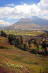 Americas, South America, Ecuador, Quito. Scenic volcanoes and verdant valleys surround the Ecaudorian capitol, Quito, nestled high in the Andes Mountains.