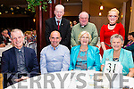 Celebrating the Pioneers Total Abstinence Association 95th Anniversary in the Ring of Kerry Hotel on Saturday were front l-r; Fr Larry Kelly, Denis Daly(Vice Chairman), Mary Golden(Treasurer), Mary Daly, back l-r; Michael Quinlan, Fr Martin Sheehan & Sophie Daly Wilson.