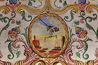 Symbol of justice, detail from the painted ceiling, 17th century, by Francisco F de Araujo, in the Sao Miguel Chapel, or St Michael's Chapel, designed in Manueline style 1517-22 by Marco Pires and completed by Diogo de Castilho, on the site of a 12th century chapel in the University of Coimbra, Coimbra, Portugal. The chapel was renovated in the 17th and 18th centuries, with pulpit built by Manuel Ramos in 1684, tiled floor added 1613, Baroque organ with 2,000 pipes built 1733 by Fray Manuel de Sao Bento, chinoiserie painting by Gabriel Ferreira da Cunha in 1737, and Mannerist altarpiece designed by Bernardo Coelho in 1605 and made by sculptor Simon Mota, with paintings by Simon Rodrigues and Domingos Vieira Serrao. The University of Coimbra was first founded in 1290 and moved to Coimbra in 1308 and to the royal palace in 1537. The building is listed as a historic monument and a UNESCO World Heritage Site. Picture by Manuel Cohen