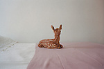 Fawn sitting alone on bed with back to camera