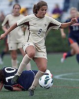 Boston College forward Stephanie McCaffrey (9) jumps on loose ball. Pepperdine University defeated Boston College,1-0, at Soldiers Field Soccer Stadium, on September 29, 2012.